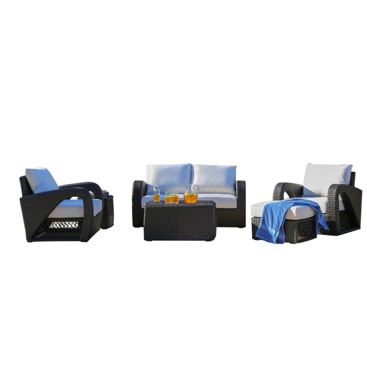 Sirio Settina 6 Piece Resin Wicker And Sunbrella Outdoor Furniture