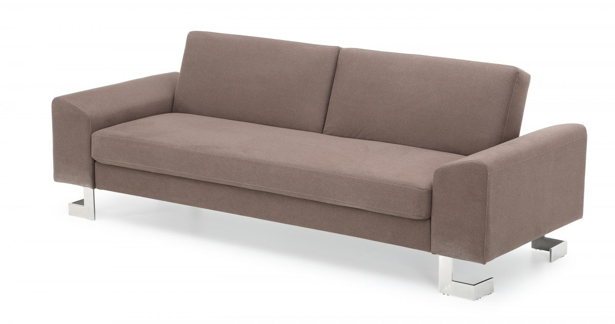 Corvus Gibson Brown Sofa Bed with Fold out Back and Stainless