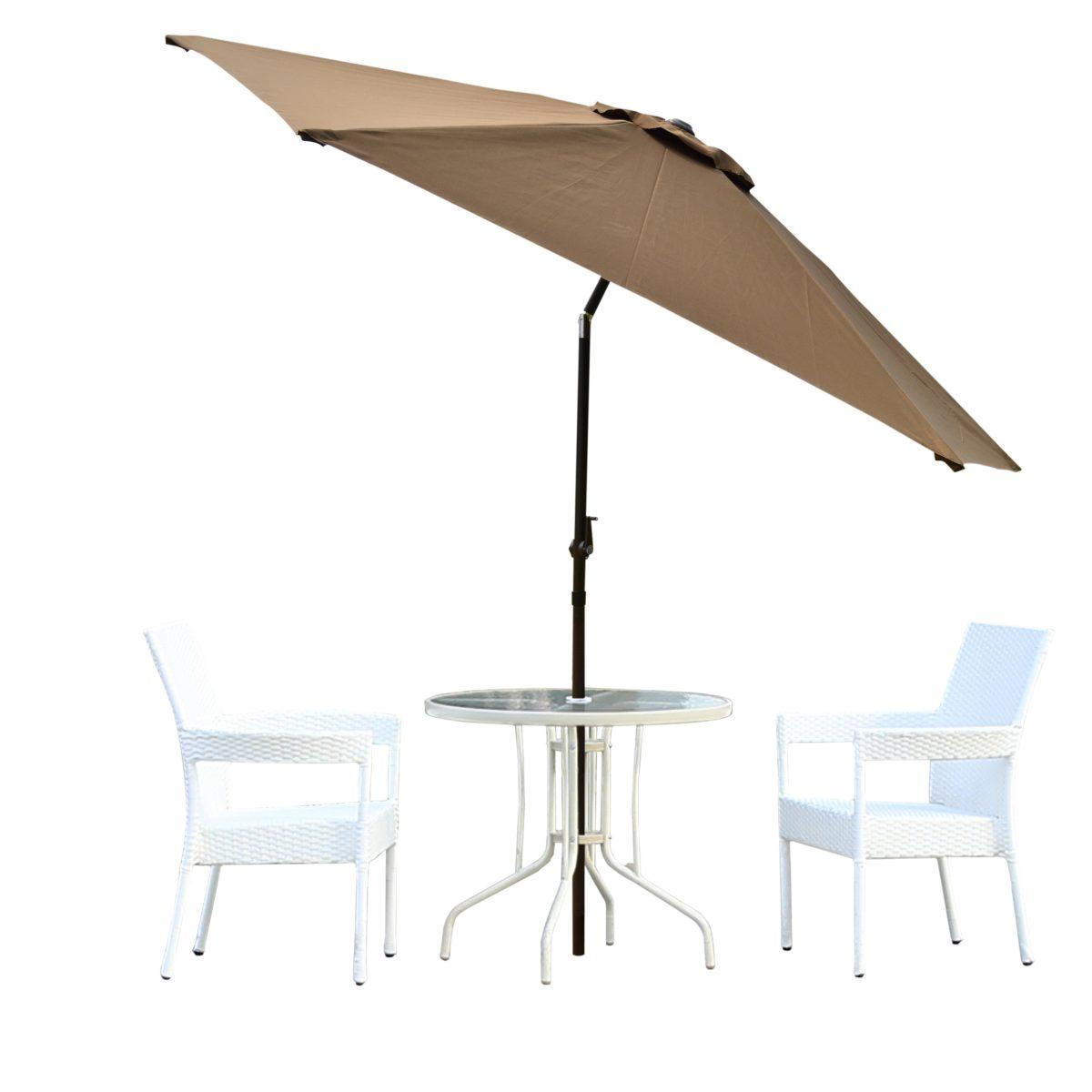 Charmant Borealis Malta 9 Foot Coffee Patio Umbrella With Vented Top Tilt Crank