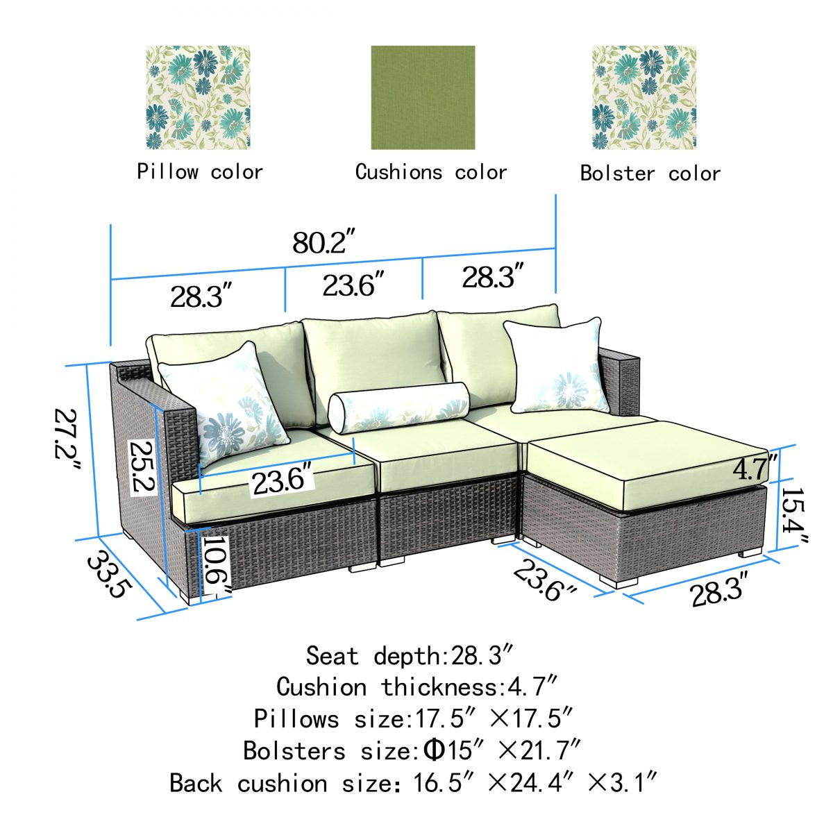 Sirio Sorrento 4 Piece Brown And Green Resin Wicker Outdoor Furniture Set  With Sunbrella Cushions