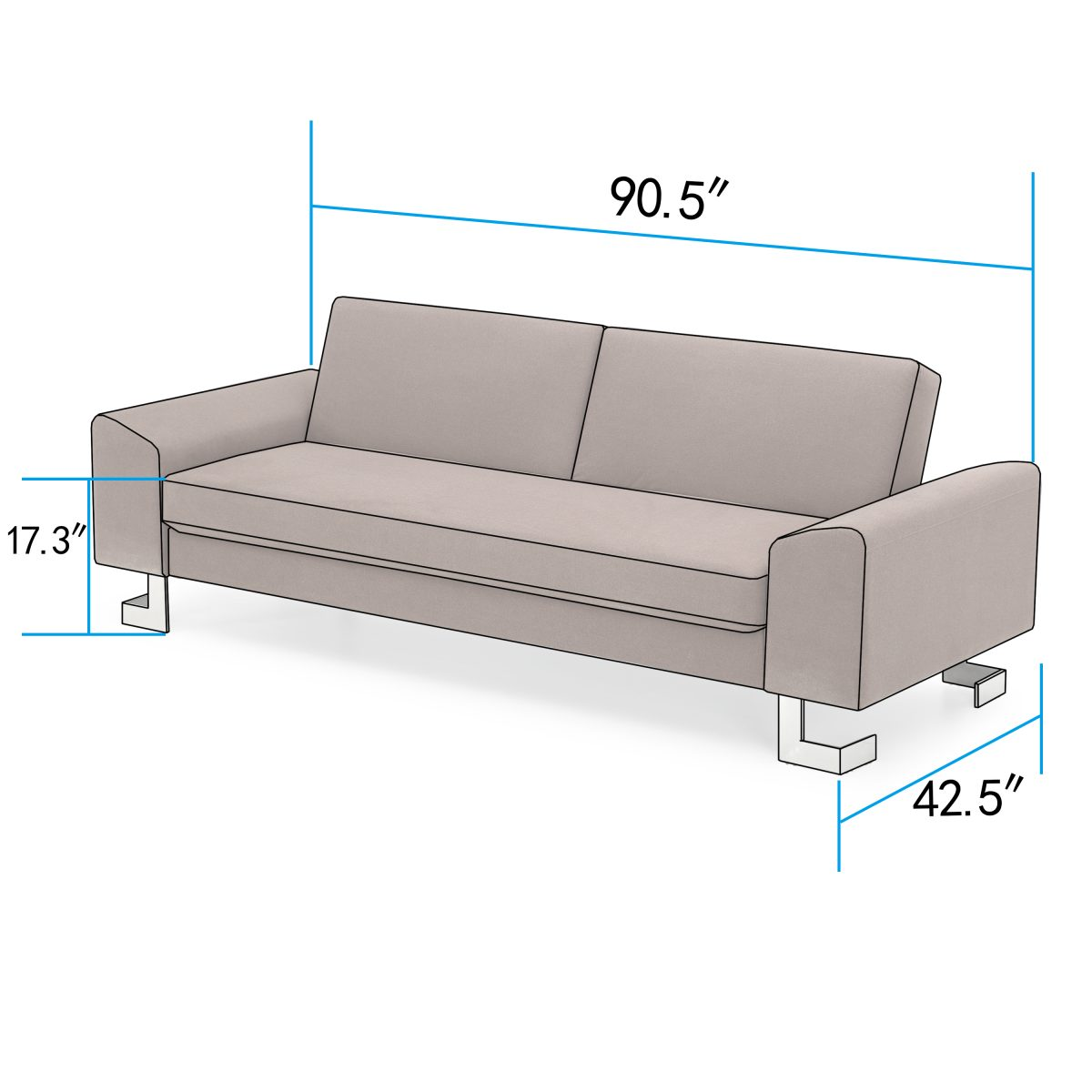 Corvus Gibson Brown Sofa Bed With Fold Out Back And