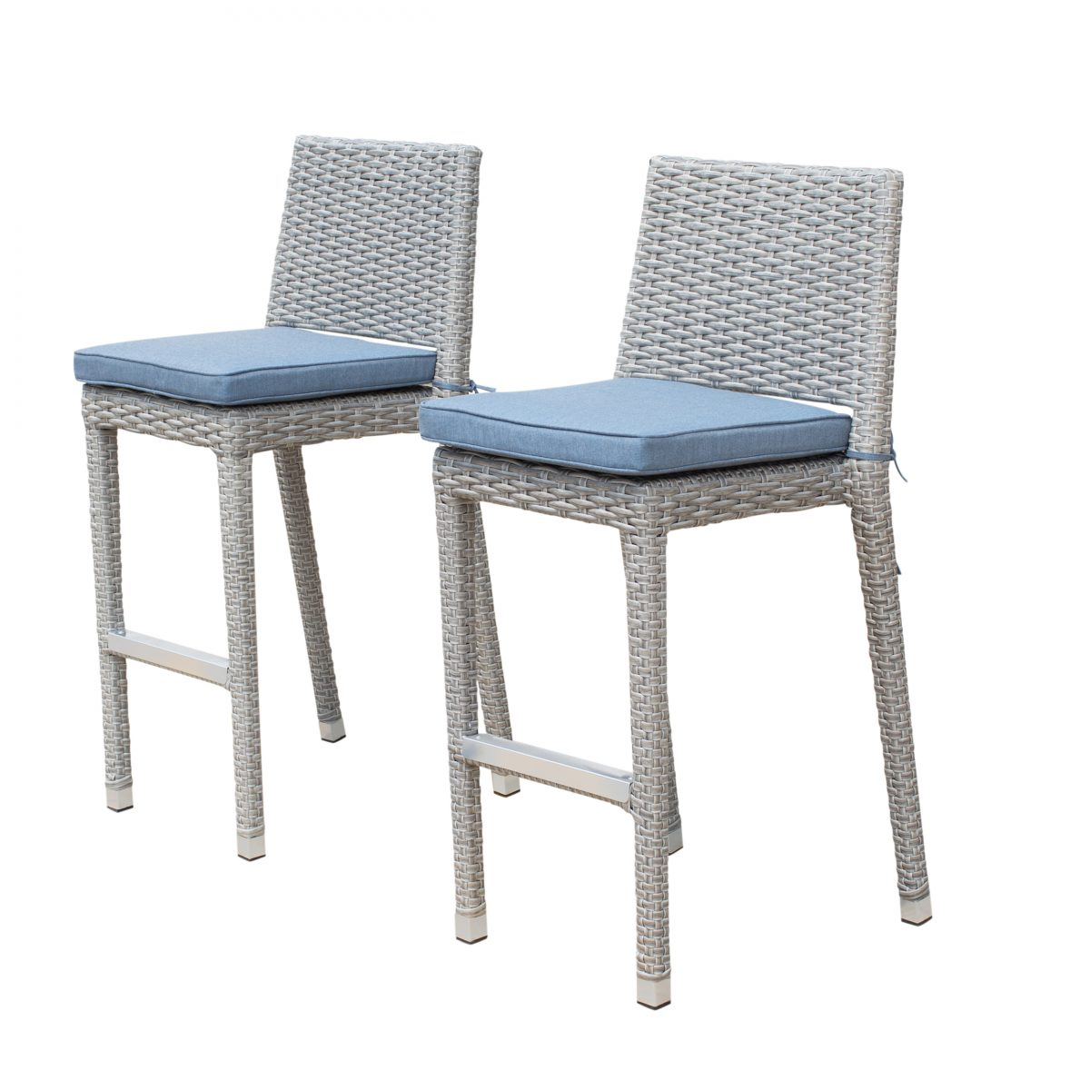 Sirio Niko Ash Grey Wicker Bar Stool With Denim Blue Cushions (Pack Of 2)