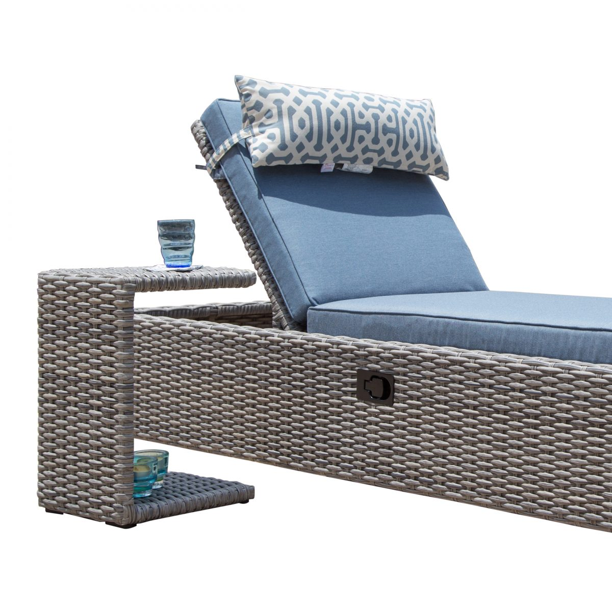 Sirio Niko Chaise Lounge Chair with Side Table in Slate   Starsong on