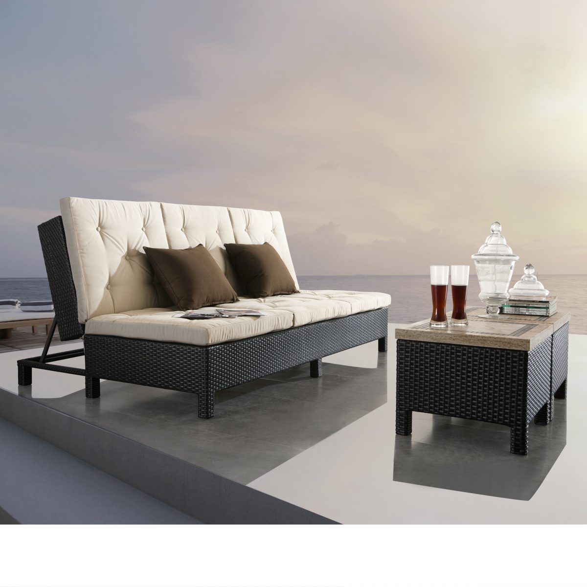 Sirio Euro Patio Double Chaise Lounge Sofa Set Starsong