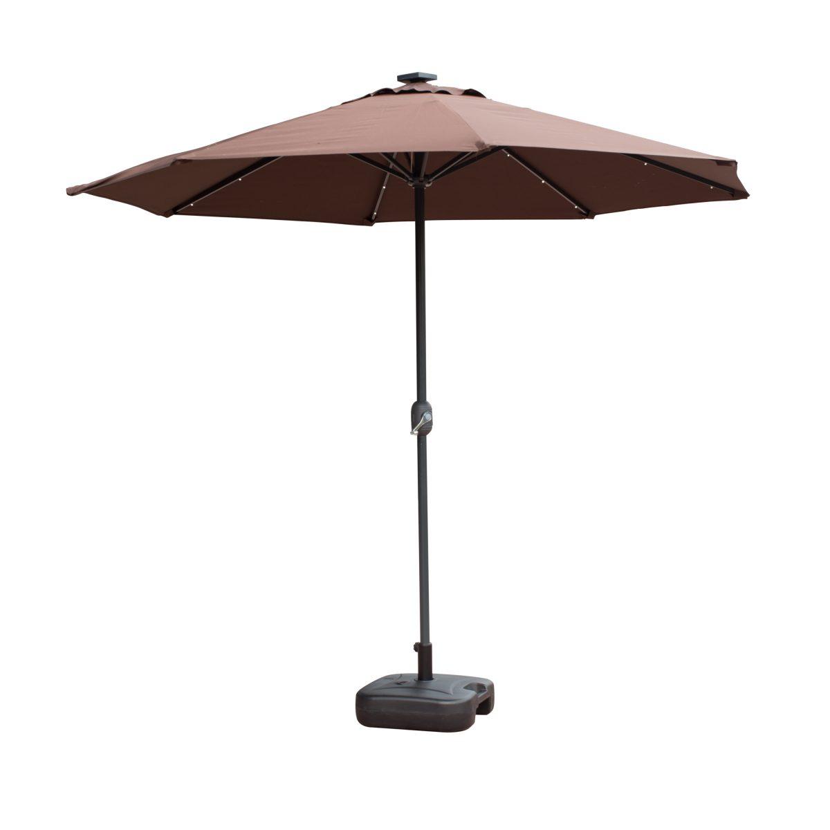 Borealis 9 Foot 30 LED Lights Coffee Patio Umbrella Garden Outdoor Sunshade  Market