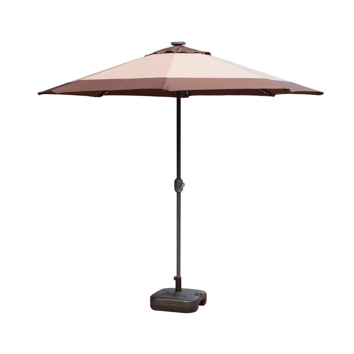 Borealis 9 Foot 30 LED Lights Coffee And Khaki Patio Umbrella Garden Outdoor  Sunshade Market