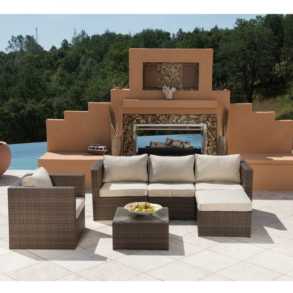 Borealis Trey 6-piece Brown and Beige Resin Wicker Outdoor Furniture ...