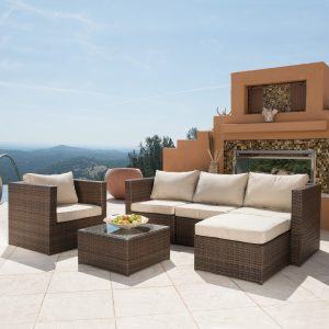Borealis Trey 6-piece Brown and Beige Resin Wicker Outdoor Furniture Set with Glass Top
