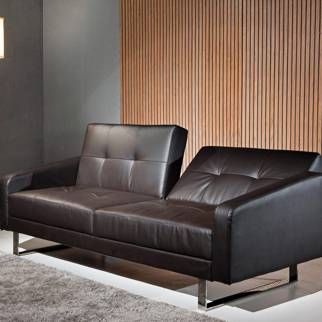 Borealis Black Polyurethane Sofa Bed With Stainless Steel Legs