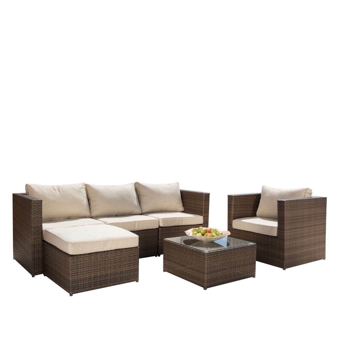 borealis trey 6 piece brown and beige resin wicker outdoor furniture