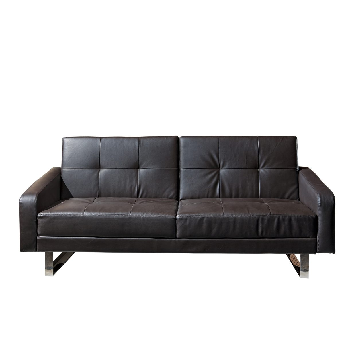 Beau Borealis Black Polyurethane Sofa Bed With Stainless Steel Legs