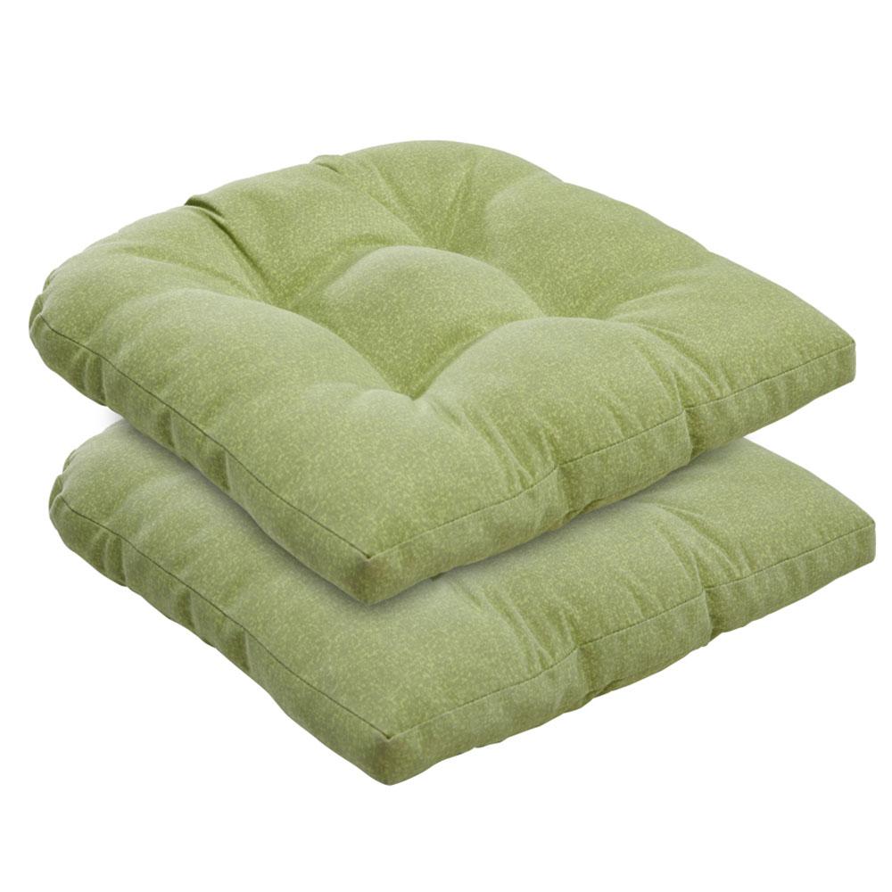 Borealis Outdoor Indoor Tufted Green Grey Piebald Wicker Chair Seat Cushions