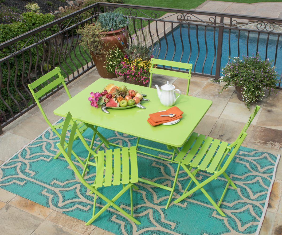 Corvus Cielo 5-piece Rectangular Green Steel Patio Folding Bistro Set