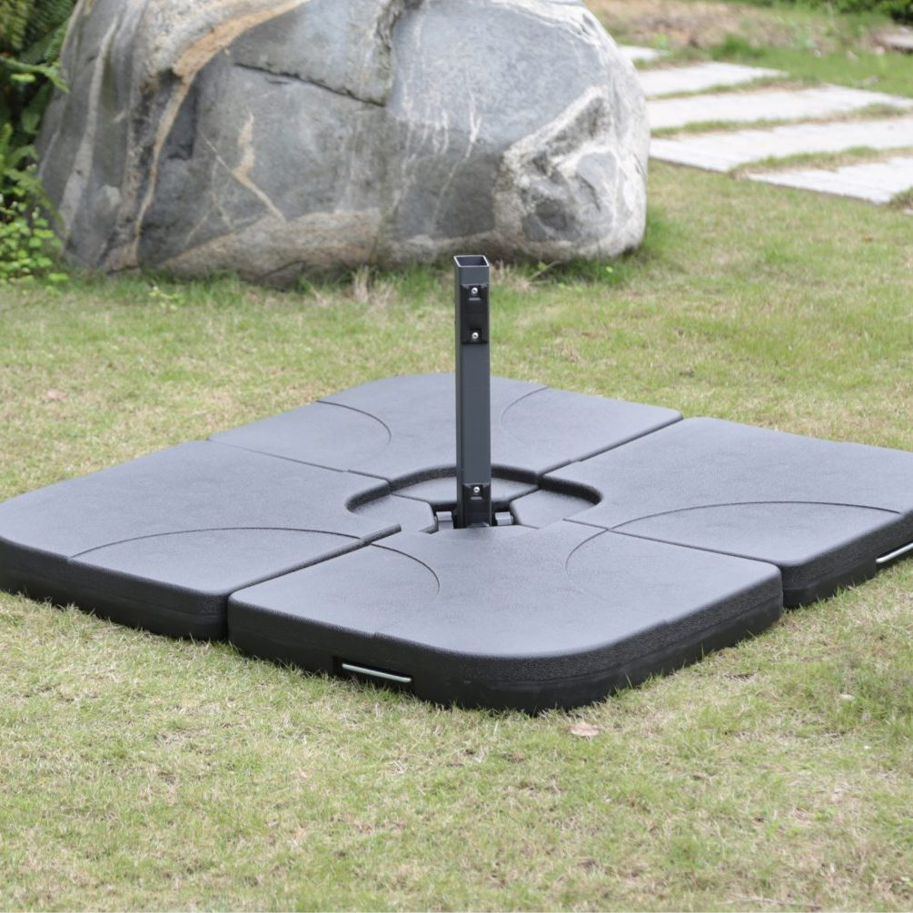 Borealis Cantilever 4 Piece Plastic Umbrella Base With Sand Or Water Filling Capabilities