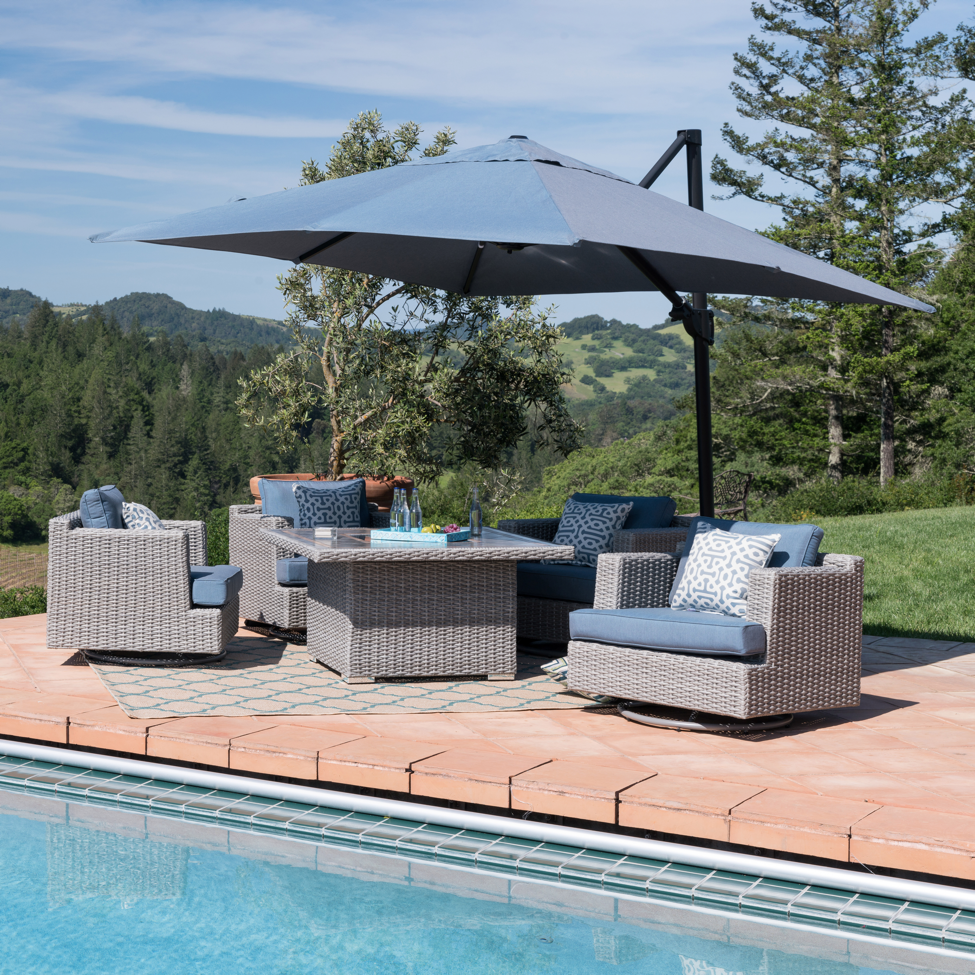 outdoor entertaining with patio umbrella
