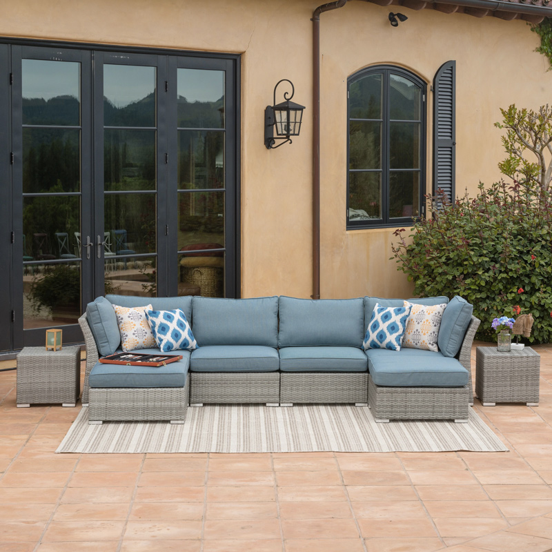 Modular Patio Furniture - Corvus Outdoor 8 piece Sectional Sofa Set