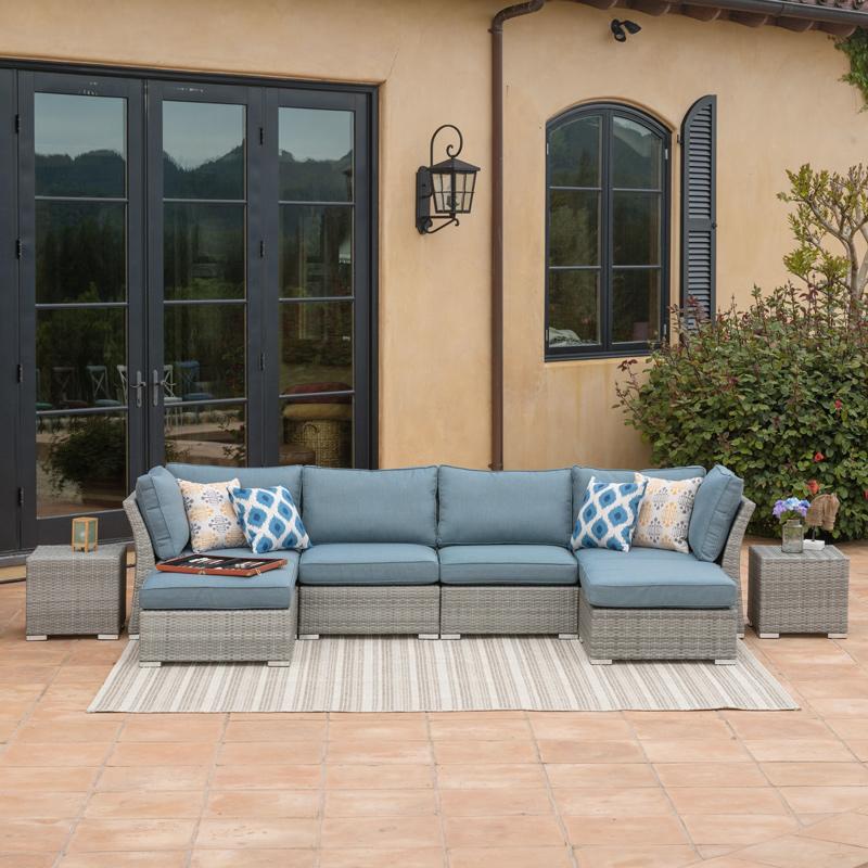 Modular Patio Furniture Corvus Outdoor 8 Piece Sectional Sofa Set