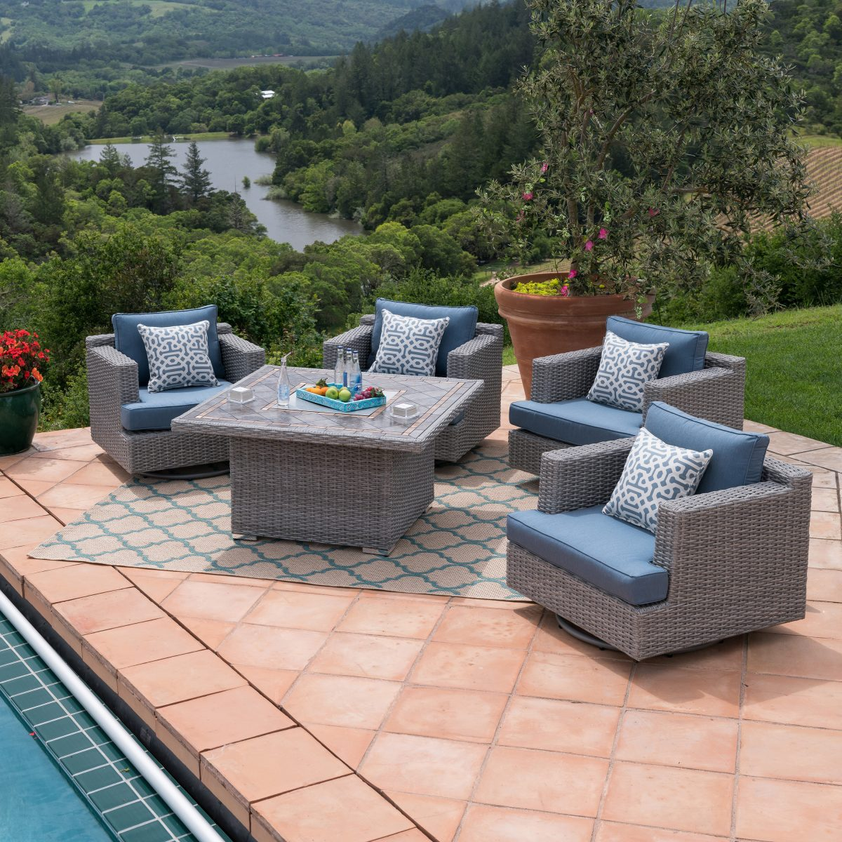 patio furniture for small spaces - Niko 5 piece fire chat set