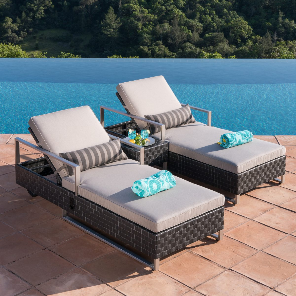 patio furniture for small spaces - chaise lounge set