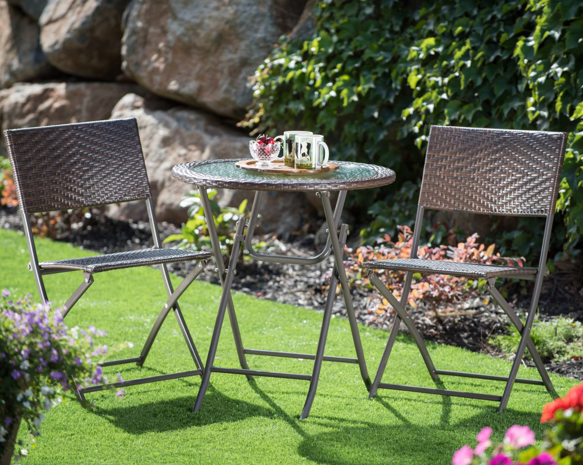 patio furniture for small spaces - corvus 3 piece bistro set