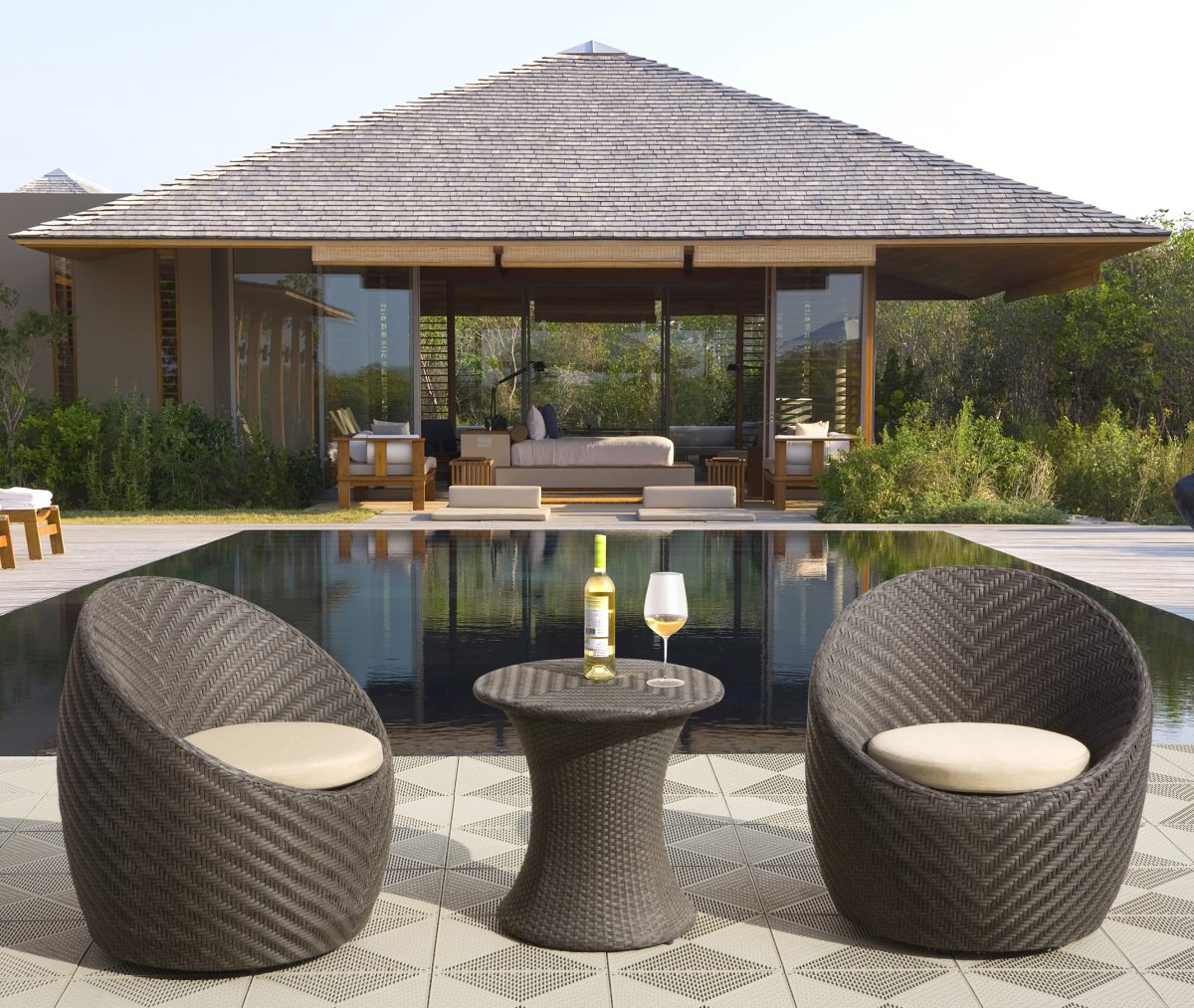 patio furniture for small spaces - sirio 3 piece wicker bistro set