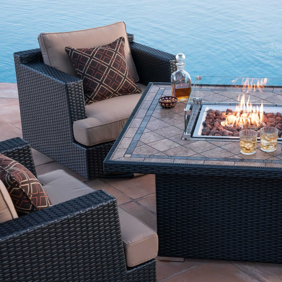 poolside seating ideas - fire table